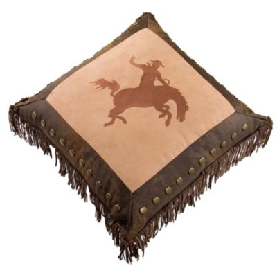 Embroidered Bronco Rider Throw Pillow