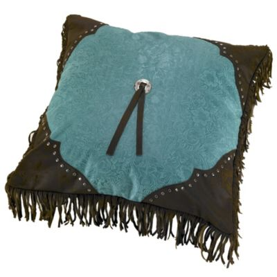 Cheyenne Scalloped Throw Pillow in Turquoise