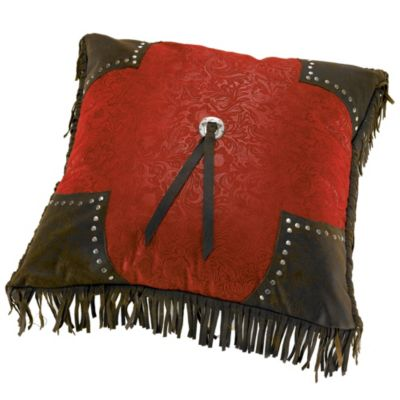 HiEnd Accents Cheyenne Scalloped Throw Pillow in Red