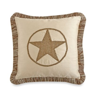 Texas Star 18-Inch Square Throw Pillow with Trim in Natural