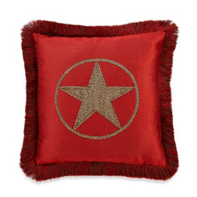 Texas Star 18-Inch Square Throw Pillow with Trim in Red