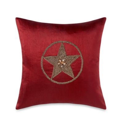 Texas Star 18-Inch Square Throw Pillow in Red
