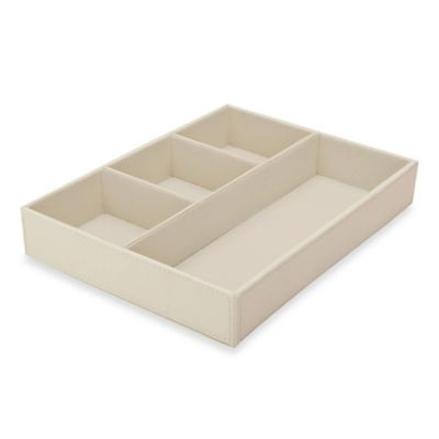 4-Compartment Small Accessories Tray in Beige
