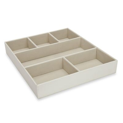 6-Compartment Large Accessories Tray in Beige
