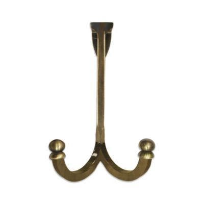Landmark Over-the-Door Split Double Hook in Antique Brass