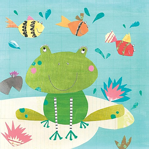 12 inch x 12 inch frog and fish wall art for Closest fish store