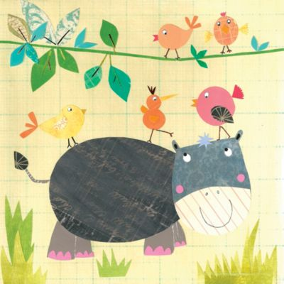 12-Inch x 12-Inch Hippo and Birds Wall Art