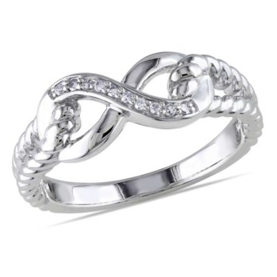 Sterling Silver .05 cttw Diamond Infinity Rope Size 9 Ring