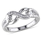 Sterling Silver .05 cttw Diamond Infinity Rope Ring