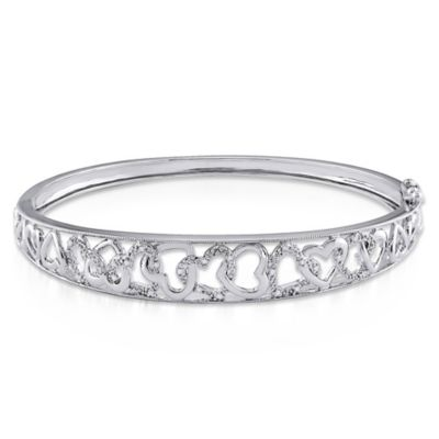 Sterling Silver .08 cttw Diamond Heart Bangle