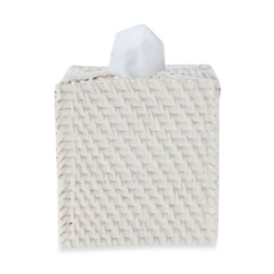Cayman White Rattan Boutique Tissue Holder