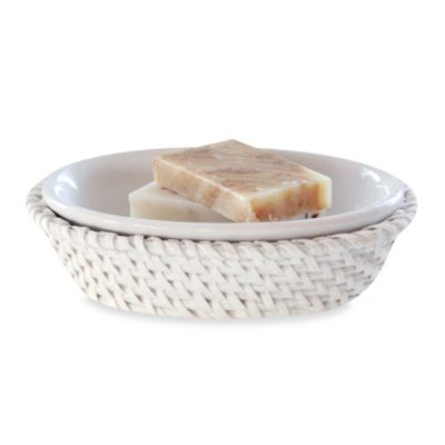 Cayman White Rattan Soap Dish