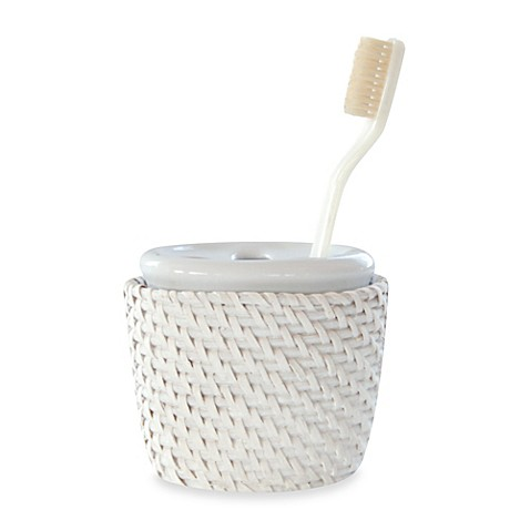 Cayman White Rattan Tooth Brush Holder