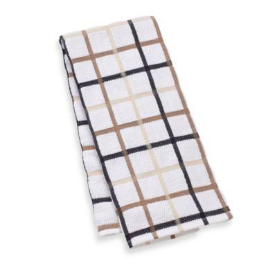 Kitchensmart® 18-Inch x 28-Inch Plaid Kitchen Towel in Mocha