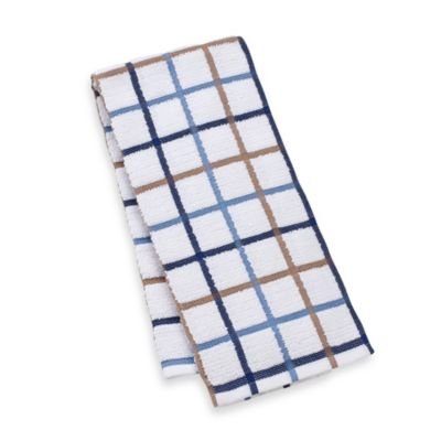 Kitchensmart® 18-Inch x 28-Inch Plaid Kitchen Towel in Navy