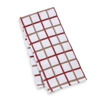 Kitchensmart® 18-Inch x 28-Inch Plaid Kitchen Towel in Brick