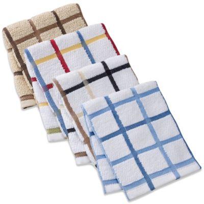 "Kitchensmart® 13"" x 14"" Plaid Dish Cloth in Mocha"