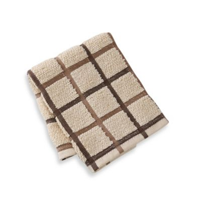 "Kitchensmart® 13"" x 14"" Plaid Dish Cloth in Brown"