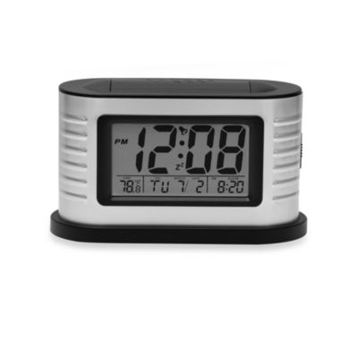 Crosley Deco Metal LCD Alarm Clock in Brushed Aluminum/Black