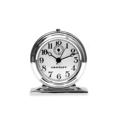 Crosley Vintage Metal Alarm Clock in Silver