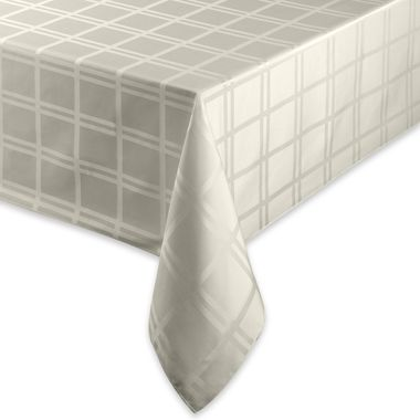 Origins Microfiber Tablecloth - 60-Inch x 84-Inch Oval - Bone