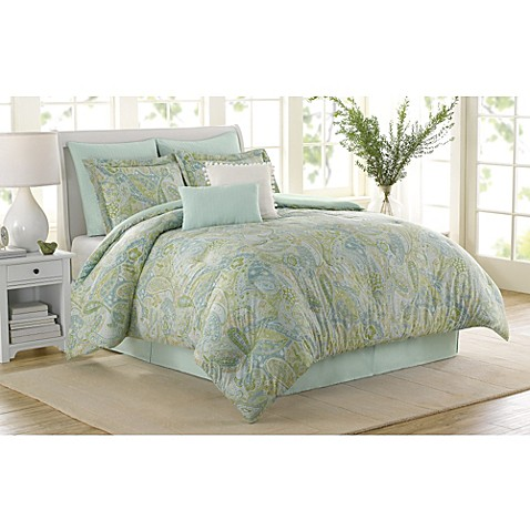Buy Soho New York Home Sea Glass 8 Piece Queen Comforter