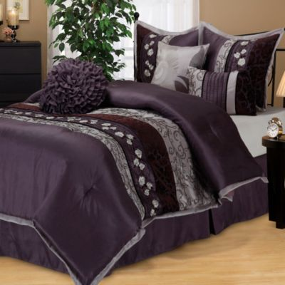 Riley California King Comforter Set in Purple