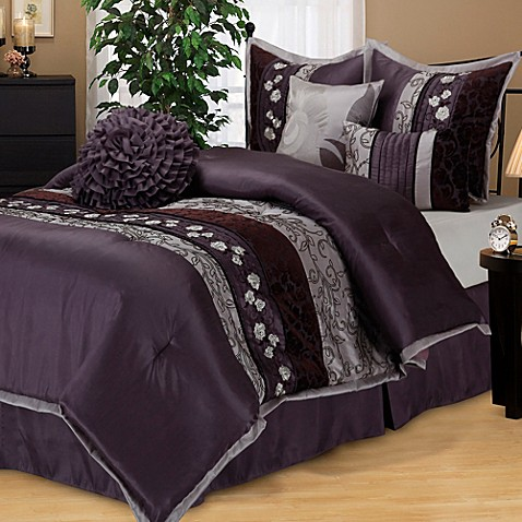 Buy Riley Queen Comforter Set In Purple From Bed Bath Amp Beyond