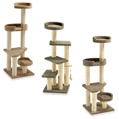 Family Cat Cat Tower with Sky Lookout and Lounger in Brown