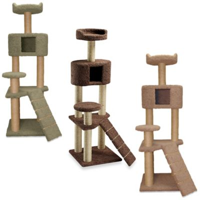 Family Cat Tree with Condo and Sky Lookout in Tan