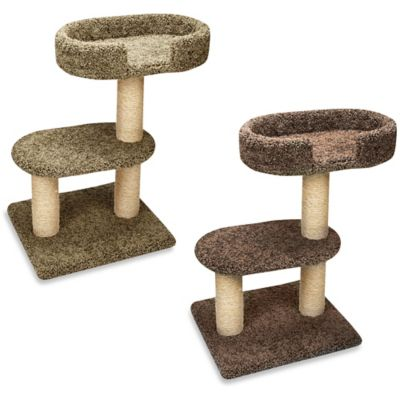 Family Cat 2-Tier Tree with Lounger in Tan
