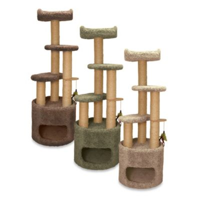 Family Cat Condo Tree with Sky Lookout in Tan