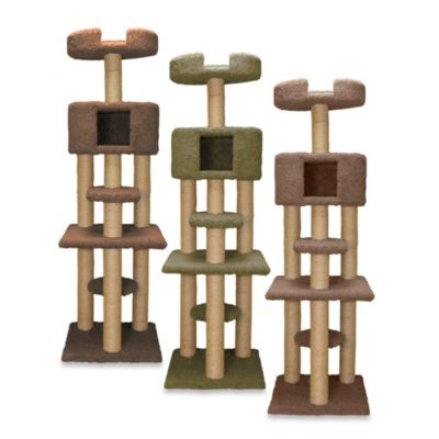 Family Cat Multi-Level Tree with Condo and Sky Lookout in Brown