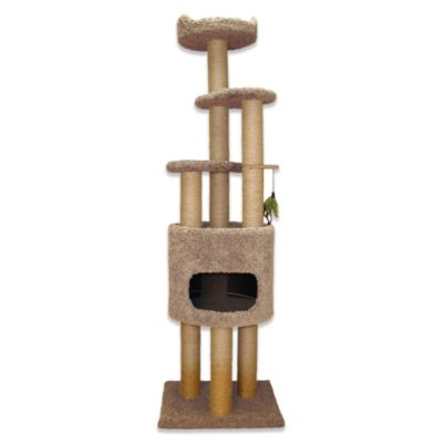 Family Cat Condo Tree with Lookout and Base in Tan