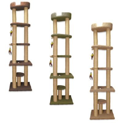 Family Cat Tower with Sky Lounger in Brown