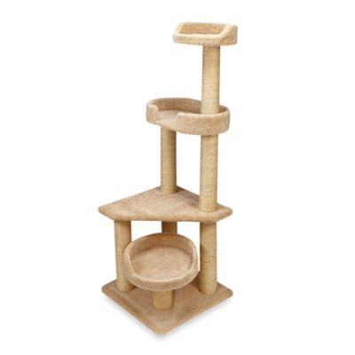 Family Cat 3-Story Cat Tree with Sky Lounger in Tan
