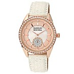 Badgley Mischka® Ladies Rosegold Crystal Watch with Cream Snakeskin-Embossed Leather Strap