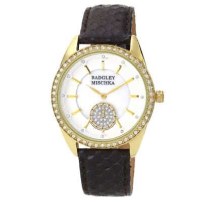 Badgley Mischka® Ladies Yellowtone Crystal Watch with Black Leather Strap