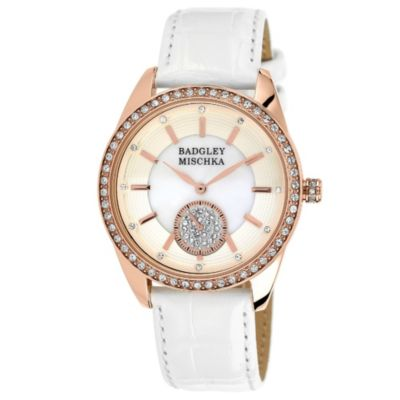 Badgley Mischka® Ladies Rose Goldtone Crystal Watch with White Leather Strap