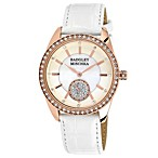 Badgley Mischka® Ladies Goldtone Swarvoski Crystal Watch with White Leather Strap