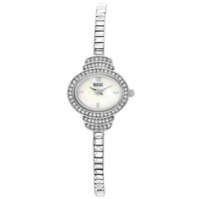Badgley Mischka® Oval Silvertone Bracelet Watch with Swarovski Crystals