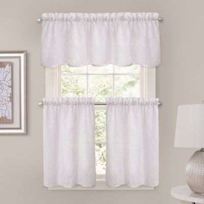 Crystal Brook 52-Inch x 24-Inch Window Curtain Tier Pair in White