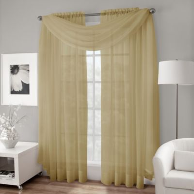 Crushed Voile Sheer Scarf Valance in Gold