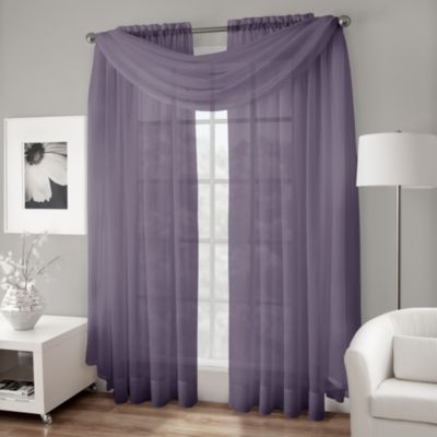 Crushed Voile Sheer Scarf Valance in Purple
