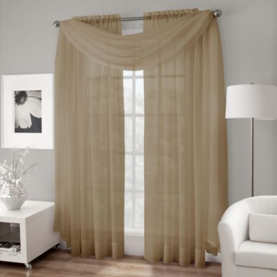 Crushed Voile Sheer Scarf Valance in Taupe