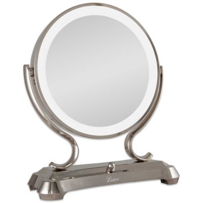 1x 5x magnifying oversized fluorescent lighted glamour vanity mirror. Black Bedroom Furniture Sets. Home Design Ideas