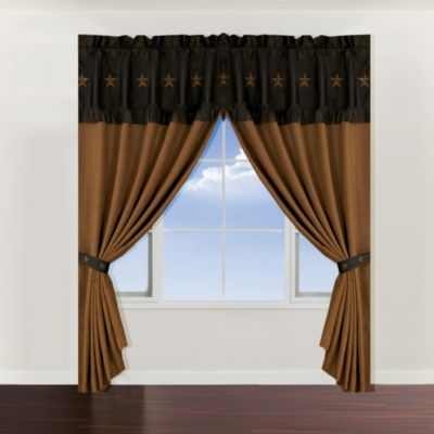 Laredo 84-Inch Window Panel and Window Valance in Chocolate