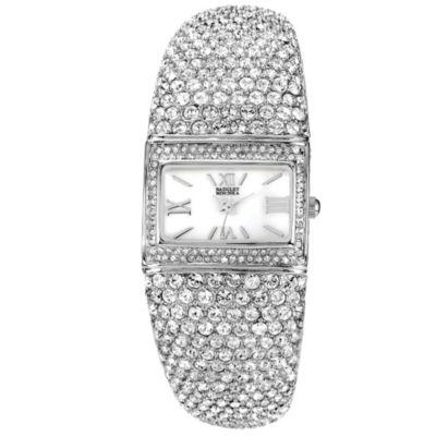 Badgley Mischka® Ladies Square Silvertone Bangle Watch with Swarovski Crystals