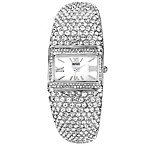 Badgley Mischka® Ladies Square Silvertone Bangle Watch with Swarovski Crystals