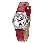 Ladies Disney® Ingersoll Classic Time Minnie Watch with Red Wrist Strap